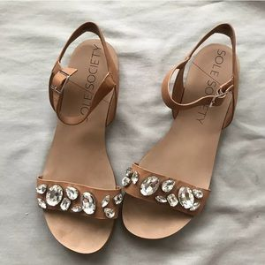Sole Society 9 Sandals So-Gemma Brown Leather